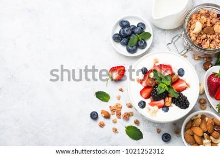 Greek yogurt granola and berry mix. Top view. #1021252312