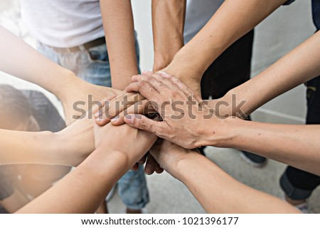 Teamwork people touch hands for unity group to succuss business. #1021396177