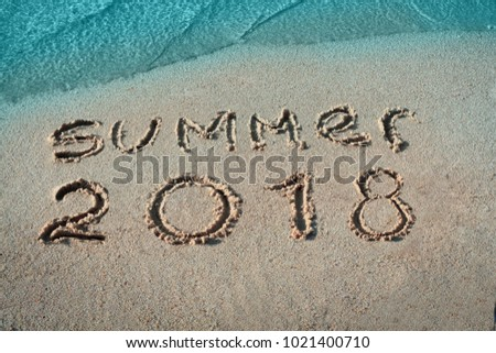 White sand, blue sea paradise beach. Summer 2018 nand drawn letters.Creative typography for Holiday Greeting Gift Poster.  #1021400710