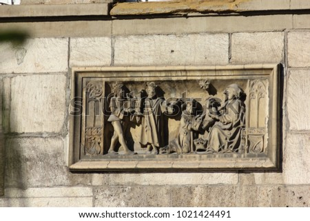 historical city schwaebisch gmuned details ornaments and facades marketplace in south germany sunny summer day #1021424491