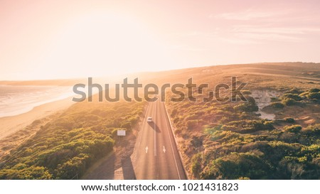 Aerial View of Great Ocean Road at Sunset, Victoria, Australia Royalty-Free Stock Photo #1021431823