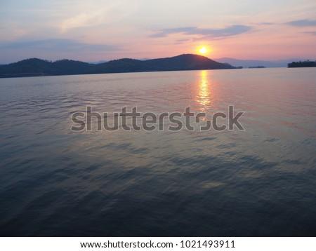 sunset on dam #1021493911