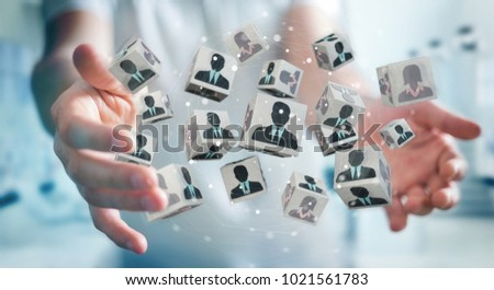 Businessman on blurred background choosing candidate for a job 3D rendering #1021561783