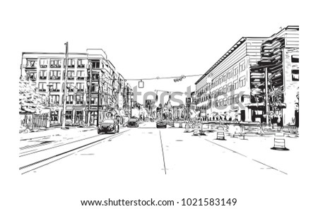 Downtown street view with buildings in Detroit City, Michigan, USA. Hand drawn sketch illustration in vector.