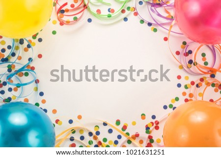 Colorful carnival or party frame on white  background