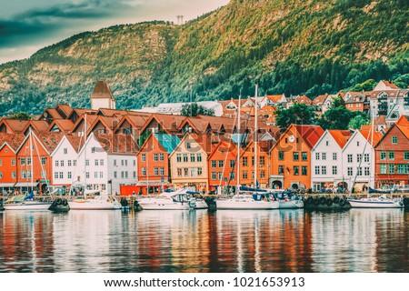 Bergen, Norway. View Of Historical Buildings Houses In Bryggen - Hanseatic Wharf In Bergen, Norway. UNESCO World Heritage Site. Famous Landmark. Destination Scenic #1021653913