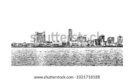 Skyline of Detroit City, Michigan, USA. Hand drawn sketch illustration in vector.