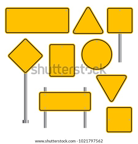 Blank traffic road sign set, empty street signs, yellow isolated on white background, vector illustration. Royalty-Free Stock Photo #1021797562