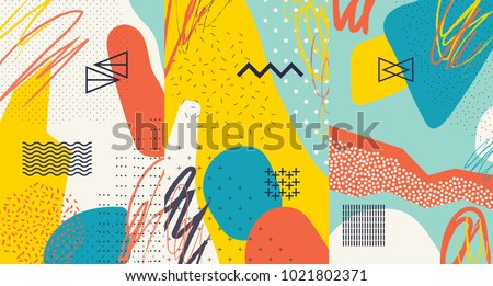 Creative doodle art header with different shapes and textures. Collage. Vector #1021802371