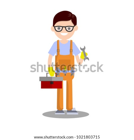 cartoon illustration - technician man in uniform. the male mechanic with the tool and wrench. repair specialist guy equipment. young boy worker