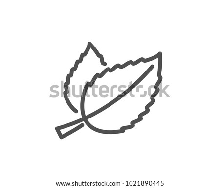Mint leaves line icon. Herbal leaf sign. Tea with Mentha symbol. Quality design element. Editable stroke. Vector #1021890445