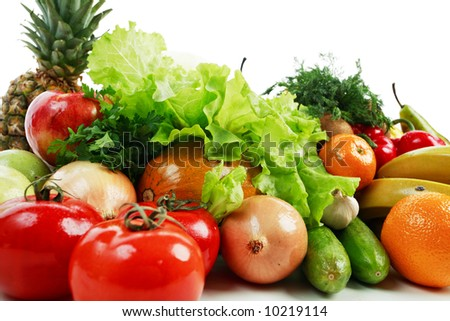 Fresh Vegetables, Fruits and other foodstuffs. Shot in a studio. #10219114