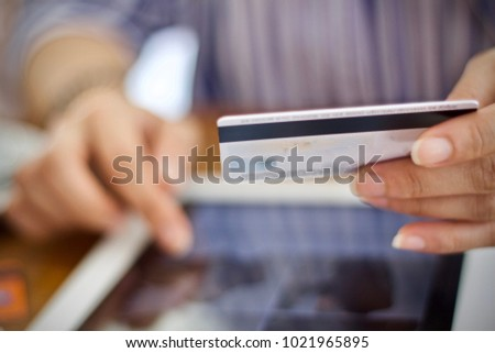 Women using laptop shopping online payment by credit card #1021965895