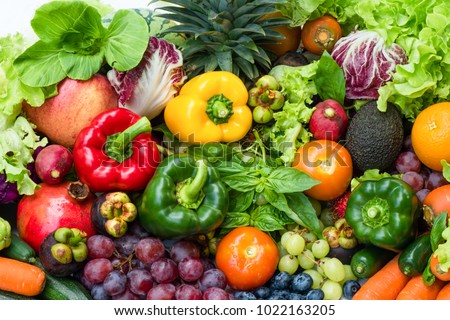Tropical fresh fruits and vegetables organic for healthy lifestyle, Arrangement different vegetables organic for eating healthy and dieting #1022163205