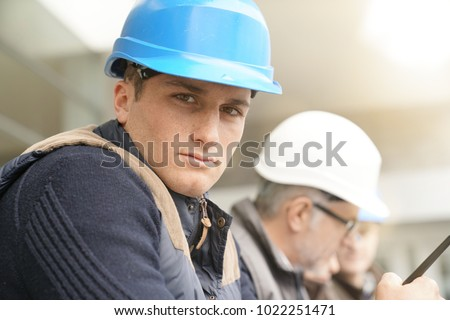 Portrait of young man in construction industry training #1022251471