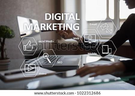DIgital marketing technology concept. Internet. Online. Search Engine Optimisation. SEO. SMM. Advertising. #1022312686