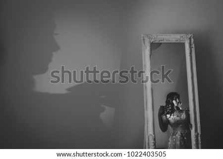 Artwork, noise, grain. Shadow of a woman. Portrait young attractive bride in dress stand in front of the mirror. Reflection body contour in the mirror on room. Rear view. Black and white photo. #1022403505