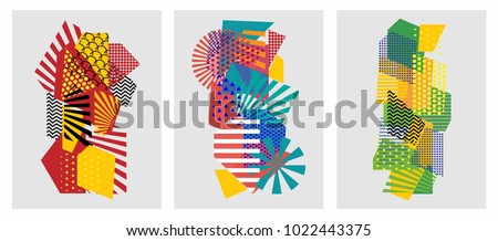 Colorful trendy geometric flat elements of pattern memphis. Pop art style texture. Modern abstract design poster and cover template #1022443375