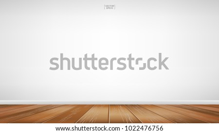 Empty room space background. With wooden floor perspective pattern and texture and empty concrete wall for background. Interior abstract background for design and decoration. Vector illustration. #1022476756