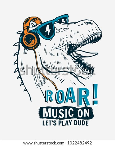 Tyrannosaurus Rex with sunglasses and headphone vector illustrations , For t-shirt prints and other uses.