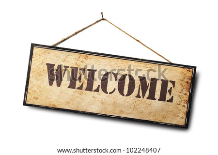 Welcome sign isolated on white.