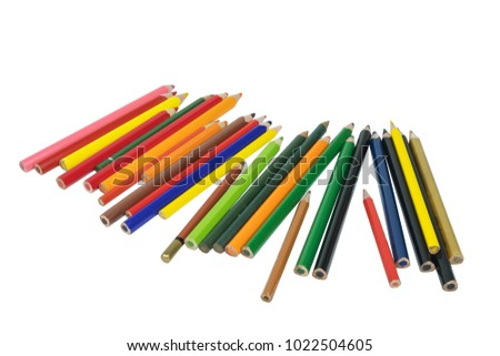 Color pencils on a white background, isolated #1022504605
