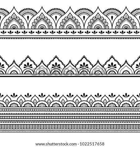 Set of seamless borders for design, application of henna, Mehndi and tattoo. Decorative pattern in ethnic oriental style. Royalty-Free Stock Photo #1022517658