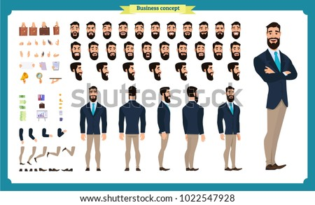 People character business set. Front, side, back view animated character.   Businessman character creation set with various views, face emotions, poses and gestures.Cartoon style, flat isolated vector Royalty-Free Stock Photo #1022547928