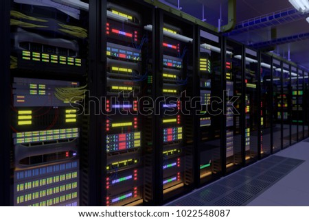 Working data center interior. Concept of hosting, computer cluster, supercomputer, virtual servers, digital cloud or mining crypto currency farm. #1022548087