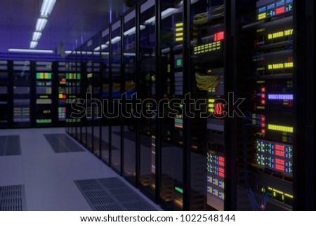 Working data center interior. Concept of hosting, computer cluster, supercomputer, virtual servers, digital cloud or mining crypto currency farm. #1022548144