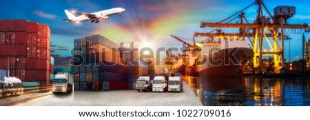 Logistics and transportation of Container Cargo ship and Cargo plane with working crane bridge in shipyard at sunrise, logistic import export and transport industry background #1022709016