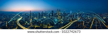 city scape and network connection concept Royalty-Free Stock Photo #1022742673