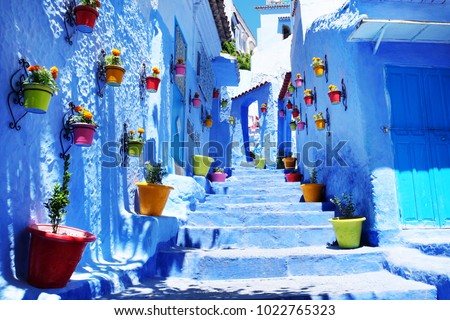 Traditional moroccan architectural details in Chefchaouen Morocco, Africa. Chefchaouen blue city in Morocco. #1022765323