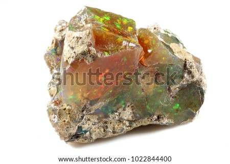Ethiopian welo opal isolated on white background