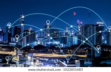 Location or Map pin flat above bangkok city scape night scene, network connection concept #1022855683