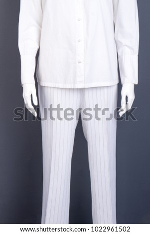 White striped trousers for women. White cotton shirt for women. Designers clothes for ladies. #1022961502