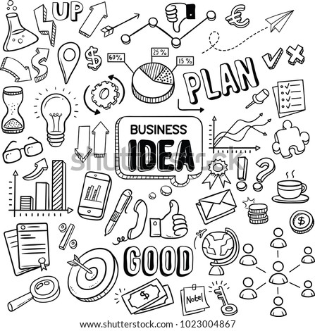 Business idea and business plan vector doodles Royalty-Free Stock Photo #1023004867