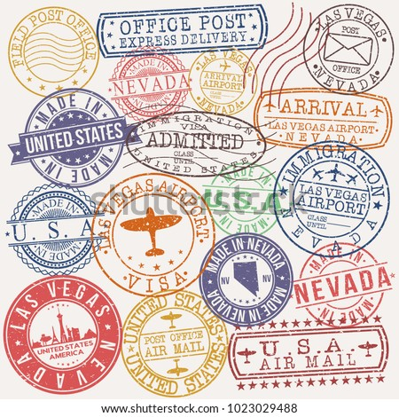 Las Vegas USA Stamp Vector Art Postal Passport Travel Design Set Badges.