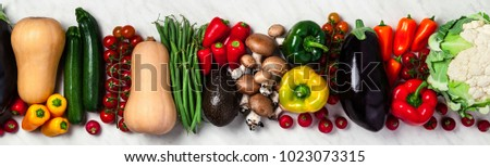 banner . Organic food background. Food photography different fruits and vegetables background. Copy space. High resolution product