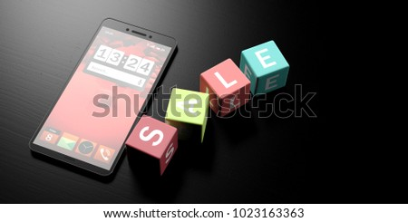 Online sale and smartphone. Colorful cubes with word sale on them. Black wooden background, banner, copy space. 3d illustration #1023163363