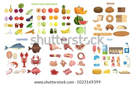 All food set. Fruits and vegetables, meat and diary, seafood and bread.