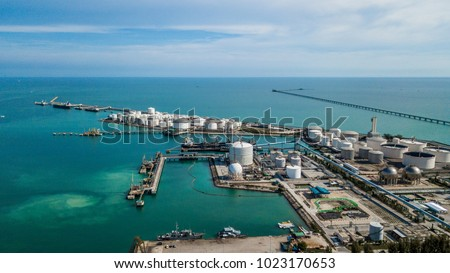 Aerial view of tank farm for bulk petroleum and gasoline storage, Crude oil storage terminal, pipeline operations, distributes petroleum products. #1023170653
