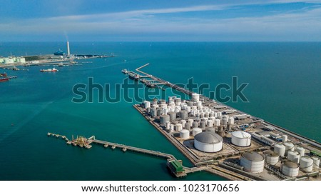 Aerial view of tank farm for bulk petroleum and gasoline storage, Crude oil storage terminal, pipeline operations, distributes petroleum products. #1023170656