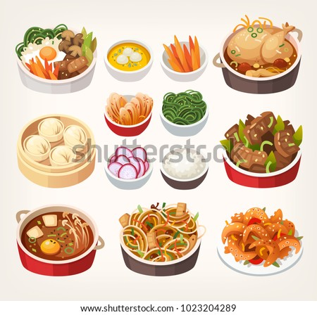 Traditional dishes of Korean cuisine every tourist should try while traveling in South Korea. Best meals in eastern classic kitchen. Isolated vector illustrations