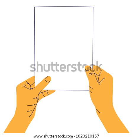 Human hands holding blank empty paper piece. Template for business advertisement. Concept design element for showcase. Vector illustration in flat style isolated on white background. #1023210157