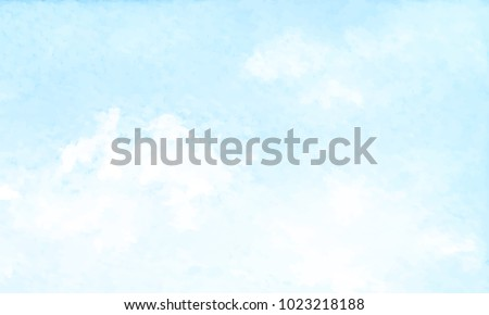 Hand painted blue sky and clouds, abstract watercolor background, vector illustration Royalty-Free Stock Photo #1023218188