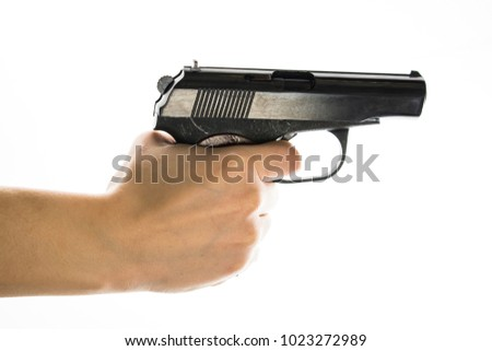 isolated on white background gun in hands #1023272989