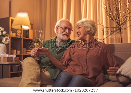 Cheerful old man embracing happy woman while tasting glasses of delicious champagne. They sitting on sofa. Romanticism concept #1023287239