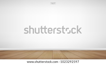 Empty room space background. With wooden floor perspective pattern and texture and empty concrete wall for background. Interior abstract background for design and decoration. Vector illustration. #1023292597