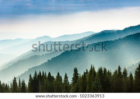 Majestic landscape of summer mountains. A view of the misty slopes of the mountains in the distance. Morning misty coniferous forest hills in fog and rays of sunlight. Travel background.  #1023363913